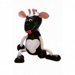 Schwarze Kuh mit Frühling